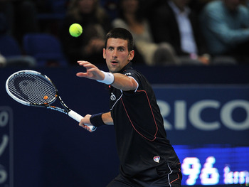 Novak Djokovic, world n1, playing in Basel in 2011