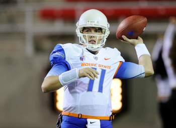LAS VEGAS, NV - NOVEMBER 05:  Quarterback Kellen Moore #11 of the Boise State Broncos warms up before a game against the UNLV Rebels at Sam Boyd Stadium November 5, 2011 in Las Vegas, Nevada. The Broncos won 48-21 giving Moore his 46th victory and making 