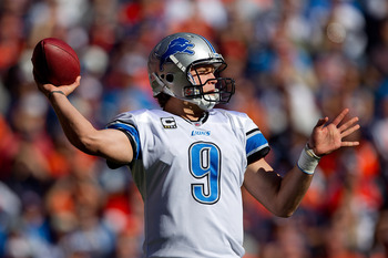 DENVER, CO - OCTOBER 30:  Quarterback Matthew Stafford #9 of the Detroit Lions throws a pass during the first quarter against the Denver Broncos at Sports Authority Field at Mile High on October 30, 2011 in Denver, Colorado. (Photo by Justin Edmonds/Getty