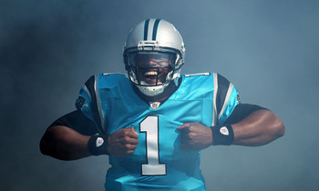 CHARLOTTE, NC - OCTOBER 23:  Cam Newton #1 of the Carolina Panthers enters the field prior to the start of their game against the Washington Redskins at Bank of America Stadium on October 23, 2011 in Charlotte, North Carolina.  (Photo by Scott Halleran/Ge