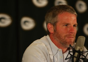 Brett Favre retires—the first time—in March 2008.