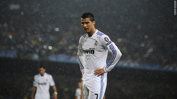 Cristiano Ronaldo, like all Real Madrid fans, frustrated by the lack of Madrid success in the Champions League.