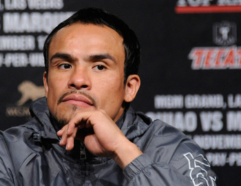LAS VEGAS, NV - NOVEMBER 09:  Boxer Juan Manuel Marquez appears during the final news conference for his bout with Manny Pacquiao at the MGM Grand Hotel/Casino November 9, 2011 in Las Vegas, Nevada. Pacquiao will defend his WBO welterweight title against