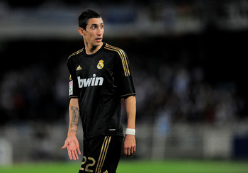 SAN SEBASTIAN, SPAIN - OCTOBER 29: Angel di Maria of Real Madrid looks on during the La Liga match between Real Sociedad and Real Madrid at Estadio Anoeta on October 29, 2011 in San Sebastian, Spain.  (Photo by Denis Doyle/Getty Images)