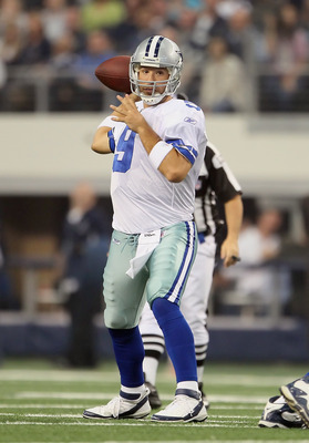 ARLINGTON, TX - NOVEMBER 06:  Quarterback Tony Romo #9 of the Dallas Cowboys drops back to pass against the Seattle Seahawks at Cowboys Stadium on November 6, 2011 in Arlington, Texas.  (Photo by Jeff Gross/Getty Images)
