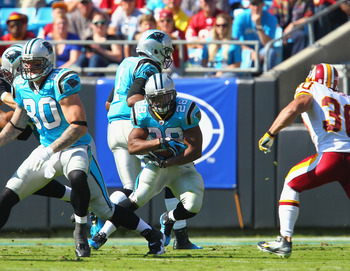 Running backs Jonathan Stewart (28) and DeAngelo Williams (not pictured) are key players in the Panthers' ball control offense.