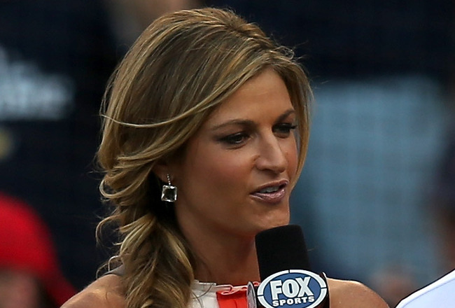 KANSAS CITY, MO - JULY 10:  Fox Sports reporter Erin Andrews interviews players on the field before the 83rd MLB All-Star Game at Kauffman Stadium on July 10, 2012 in Kansas City, Missouri.  (Photo by Jonathan Daniel/Getty Images)