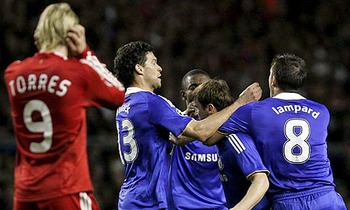 Branislav Ivanovic mobbed by his team-mates after scoring the opener.