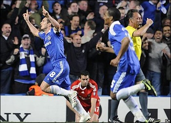 Frank Lampard scored a double to keep Chelsea in the competition.