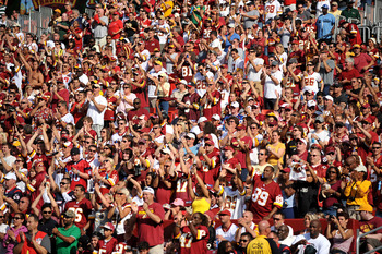 Redskins fans get their red on, FedEx Field, Washington, D.C.