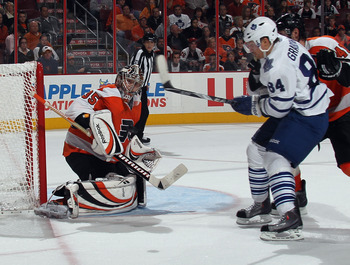 Sergei Bobrovsky shuts the door on Mikhail Grabovsky on October 24, 2011. The Flyers went on to win the game 4-2.