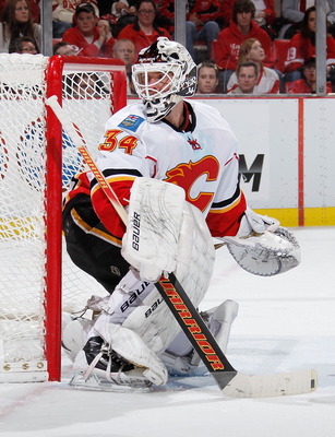 Miikka Kiprusoff on November 3, 2011 versus the Detroit Red Wings.