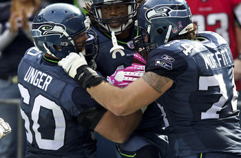 Seattle's offensive line has had more to celebrate lately.