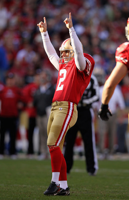 David Akers celebrates his 52 yard field goal