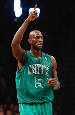 NEW YORK, NY - DECEMBER 25:  Kevin Garnett #5 of the Boston Celtics celebrates after hitting a basket against the Brooklyn Nets at the Barclays Center on December 25, 2012 in the Brooklyn borough of New York City. NOTE TO USER: User expressly acknowledges