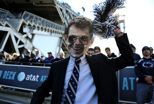 STATE COLLEGE, PA - NOVEMBER 12: A Penn State Nittany Lions fan wears a mask of former Penn State coach Joe Paterno during play against Nebraska Cornhuskers at Beaver Stadium on November 12, 2011 in State College, Pennsylvania. (Photo by Patrick Smith/Get