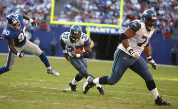 Seahawks RB Shaun Alexander (2000-2007) and LT Walter Jones (1997-2009)