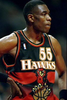 9 Feb 1999: Dikembe Mutombo #55 of the Atlanta Hawks looks on during the game against the Chicago Bulls at the United Center in Chicago, Illinois. The Hawks defeated the Bulls 87-71.