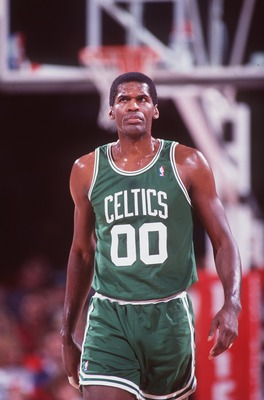 1992:  Center Robert Parish of the Boston Celtics walks up court during the Celtics versus Denver Nuggets game in Denver, Colorado.     Mandatory Credit: Tim DeFrisco/ALLSPORT