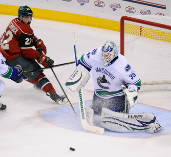 Cory Schneider on November 3, 2011 versus the Minnesota Wild.