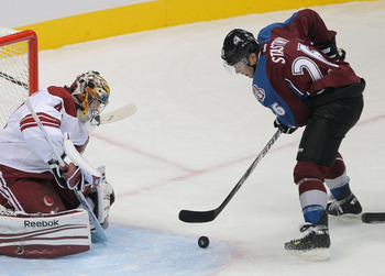 Paul Stastny on November 3, 2011 versus the Phoenix Coyotes.