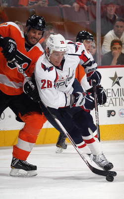 Alexander Semin on November 11, 2011 versus the Philadelphia Flyers.