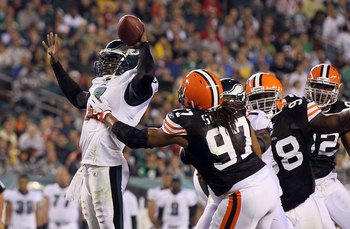 PHILADELPHIA, PA - AUGUST 25:  Michael Vick #7 of the Philadelphia Eagles in action against Jabaal Sheard #97 of the Cleveland Browns during their pre season game on August 25, 2011 at Lincoln Financial Field in Philadelphia, Pennsylvania.  (Photo by Jim