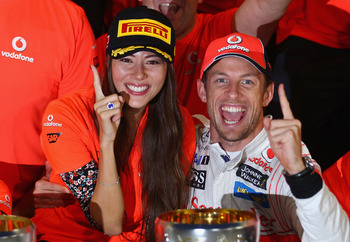 Jenson and girlfriend jessica in Japan