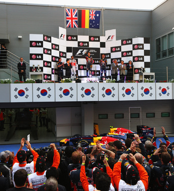 Adoring fans watching the Korea Podium