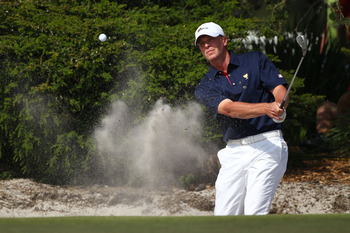 Steve Stricker blasts from the sand