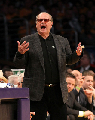 LOS ANGELES, CA - MAY 18:  Actor Jack Nicholson yells his displeasure at the referees during the game between the Los Angeles Lakers and the Oklahoma City Thunder in Game Three of the Western Conference Semifinals in the 2012 NBA Playoffs on May at Staple
