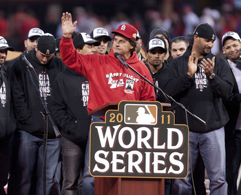 Tony LaRussa addresses the crowd following the World Series win