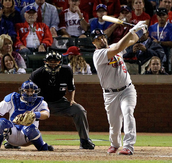 Albert Pujols blasts a home run in the World Series
