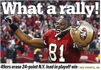 The Giants once held a 24 point lead over the 49ers. However it was the 49ers that escaped with the win after a controversial final play to end the game.