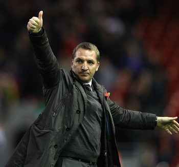 Brendan Rodgers salutes the Swans faithful