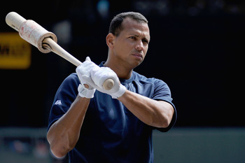 MINNEAPOLIS, MN - AUGUST 21: Alex Rodriguez #13 of the New York Yankees takes batting practice before the game against the Minnesota Twins on August 21, 2011 at Target Field in Minneapolis, Minnesota. Alex Rodriguez is in the line up at third. (Photo by H