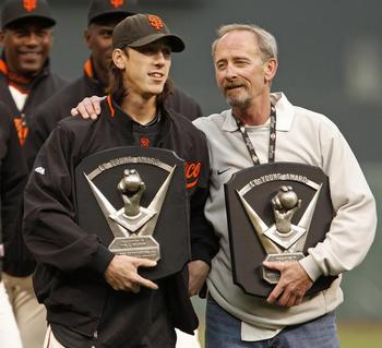 Tim Lincecum and his father  Chris  holding Tim s Two Cy Young AwardsTim Lincecum Dad