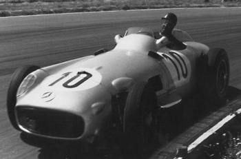 Fangio at Silverstone in 1955.