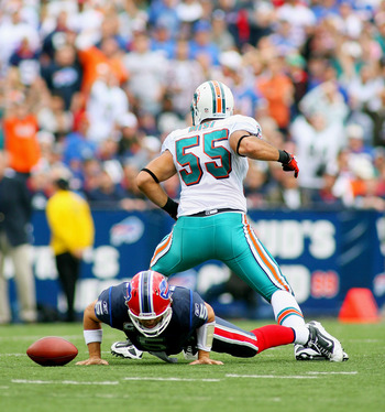 ORCHARD PARK, NY - SEPTEMBER 12: Koa Misi #55 of the Miami Dolphins celebrates his sack on Trent Edwards #5 of the Buffalo Bills  during the NFL season opener at Ralph Wilson Stadium on September 12, 2010 in Orchard Park, New York. Miami won 15-10. (Photo