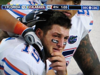 Heartbreaking Losses bring many tears to peoples eyes. Example Tim Tebow