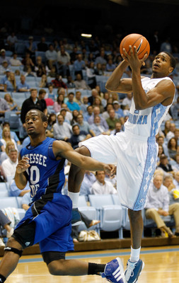 Dexter Strickland, literally running up the back of Tennessee State's Will Peters during the Tar Heels' blowout win