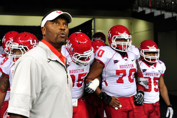 Head coach Kevin Sumlin has led a stunning reclaimation project at the University of Houston, where he has his Cougars on the verge of the first BCS bowl bid in the history of any school from Conference-USA.