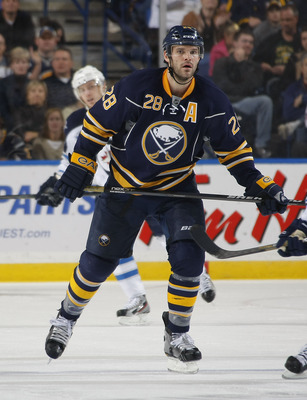BUFFALO, NY - NOVEMBER 8:  Paul Gaustad #28 of the Buffalo Sabres skates against the Winnipeg Jets during their NHL game at First Niagara Center November 8, 2011 in Buffalo, New York.  (Photo by Dave Sandford/Getty Images)