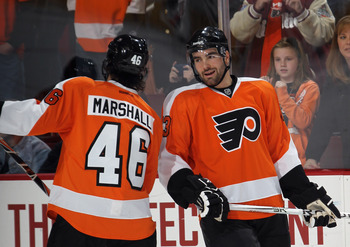 The Flyers have been careful to limit the ice time of rookies Bourdon and Marshall so far.