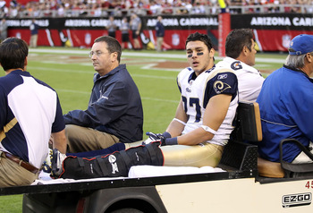 Wide receiver Greg Salas, leaving the field against Arizona on November 6, is one of 13 Rams on injured reserve.