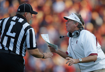 South Carolina head coach Steve Spurrier yells at a referee.