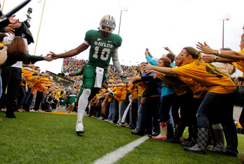 Baylor QB Robert Griffin III takes the field against Baylor. The Bears won, 48-24.