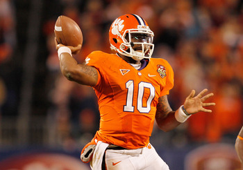 Clemson QB Tajh Boyd throws a pass against Virginia Tech. The Tigers won the ACC title, 38-10.