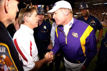 Alabama head coach Nick Saban and LSU head coach Les Miles.