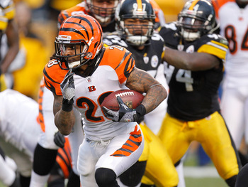 PITTSBURGH, PA - DECEMBER 04:  Bernard Scott #28 of the Cincinnati Bengals look for running room in front of Cameron Heyward #97 of the Pittsburgh Steelers  at Heinz Field on December 4, 2011 in Pittsburgh, Pennsylvania. Pittsburgh won the game 35-7. (Pho
